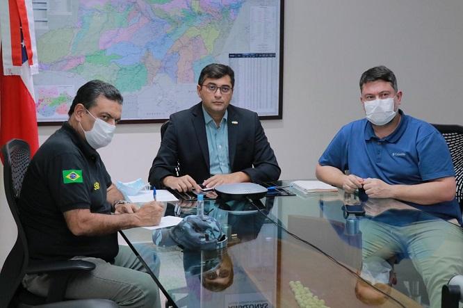 Wilson Lima discute com membro do governo da Colômbia combate ao coronavírus na fronteira entre Tabatinga e Letícia